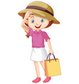 one happy girl with paper bag vector image vector image