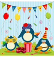 penguins celebrate birthday vector image vector image