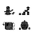sensory toys for toddlers black glyph icons set vector image vector image