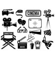 set cinema icons and design elements isolated vector image
