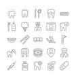set dentistry orthodontics outline vector image