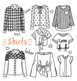 set of hand drawn women clothes shirts vector image