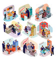Set of isometric people in business suits in the