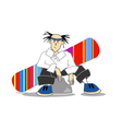 snowboarder sitting on a stone vector image