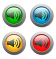 Speaker volume icon set on glass buttons vector image