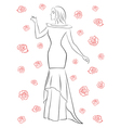 Stylish woman in a long dress among roses vector image vector image