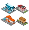 Supermarket stores buildings isometric icons set vector image vector image