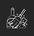 sweeping floor chalk white icon on black vector image