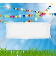 Textile banners with copy space suspended by ropes vector image vector image