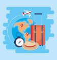 travel baggage with global map and locations signs vector image vector image