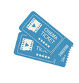 two cinema tickets isolated on white vector image vector image
