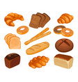 various types of baked goods realistic style vector image