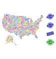 welcome composition of mosaic map of usa and vector image