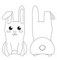 white sitting rabbit black and white poster vector image vector image