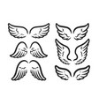 wings set symbol of freedom outline vector image