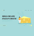 woman carry huge piece cheese diet healthy vector image