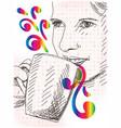woman with mug vector image