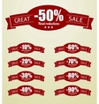 Great Sale tags with 10 - 90 percent text vector image