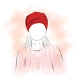 Silhouette of woman in red turban vector image