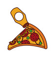 fast food pizza mustard with cheese pepperoni vector image