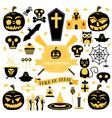 Halloween Set Pumpkin Skull Ghost Candy Cat vector image