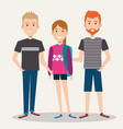 three students school standing together with vector image