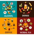 Beverages snacks and drinks flat icons vector image