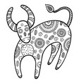 coloring page with cartoon cow vector image