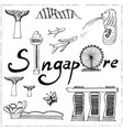 set of singapore hand drawn icons vector image