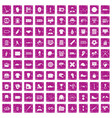 100 mens team icons set grunge pink vector image vector image