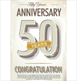 50 years anniversary retro background vector image vector image
