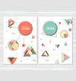 abstract geometric background retro flyers vector image vector image