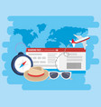 airplane with ticket and chronometer to adventure vector image vector image