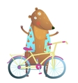 bateddy bear character with bicycle cute sport vector image vector image