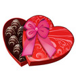 box of chocolates in shape of heart vector image vector image