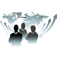 Businessman team in front of world map vector image vector image