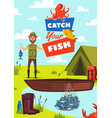 catch fish poster with fisherman and boat vector image