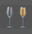 champagne glass fill and empty transparent vector image vector image