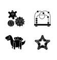 children sensory toys black glyph icons set vector image vector image