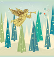christmas card winter landscape decorated vector image