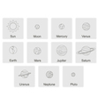 color icon set with Planets vector image vector image