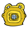 comic cartoon old deep sea diver helmet vector image