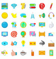 computer center icons set cartoon style vector image