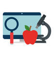 computer desktop with magnifying glass and apple vector image vector image