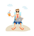 conceptual business man banner on beach isolated vector image vector image