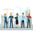 construction team engineering and constructions vector image vector image