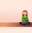 cute creative girl sits on the wooden floor and vector image