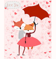 cute fox couple cartoon vector image