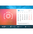 Desk Calendar Template for 2017 Year October vector image vector image