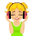 girl enjoys listening to music with headphones vector image vector image
